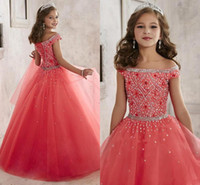 Cheap Little Girls Pageant Dresses wear 2016 New Off Shoulder Crystal Beads Coral Tulle Formal Party Dress for teen Kids Flowers Girls Gowns