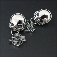Wholesale 3pairs Personal design polishing skull biker earrings l stainless steel fashion jewelry hot selling motorbiker earrings