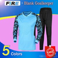 Wholesale 2016 child youth men goalkeeper soccer jerseys set sponge football long sleeve goal keeper uniforms goalie sport training suit top pants