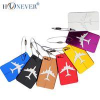 aluminum luggage tags - Aluminum Luggage Tag Travel Boarding Aircraft Plane Shape Suitcase Tag Label Name Address Holder Hangtag Travel Kit