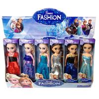 achat en gros de jouets filles pour noël-New Designer Frozen Bébé Poupée Barbie Elsa Anna Princesse silicone Reborn poupée jouets cadeau de Noël Filles avec Box Brinquedos Juguetes