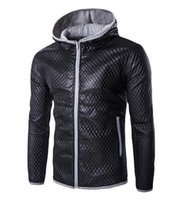 Wholesale New Plaid cotton quilted leather Hot Men Clothing Korean version Coats Men hit color hooded casual leather Popular Coats