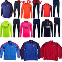 Wholesale Tracksuits Barcelonaes Jackets La Liga Messi Sweater Suit Training Sets Neymar Jr Suarez Hoody Kits Orange With Long Pants Top Quality