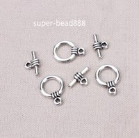 Wholesale 200set Tibetan Silver Connector Toggle Clasps Clasps Hooks Charm For Bracelet