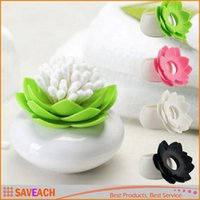 Wholesale Lotus Flower Cotton swab box lotus cotton bud holder base room decorate Lotus Toothpicks holder plastic box