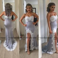 amazing flower pictures - 2016 Summer Holiday Silver Gray Lace Split Evening Dresses Amazing Spaghetti Backless Applique Edge Mermaid Prom Party Dress