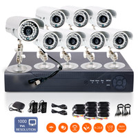 Wholesale 8pcs High Resolution cameras CH H DVR Support NVR HDMI Output quot CMOS IR CUT TVL Outdoor Waterproof Home Surveillance System