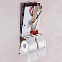 bathroom toilet paper storage - New Arrival Bathroom Hardware Toilet Paper Roll Holder Cover Magazine Books Storage Shelf Wall Mounted Chrome Finishes Stainless Steel