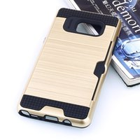 plastic card holder - Note7 Shock proof Armor brushed plastic TPU Hybrid case for For Samsung Galaxy s7 s7 edge card holder slot silicone phone back covers
