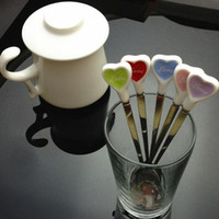 Wholesale Sweet Love Hearts Ceramic Long Handle Stainless Steel Coffee Stirring Spoon Ice Cream Coffee Milk Spoon Birthday Gift ZA1324