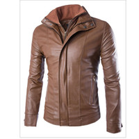Wholesale Fall European and American Style Pieces Mens Leather Jacket Winter Style Brand Motorcycle Biker Leather Coat Cool Jacket S1944