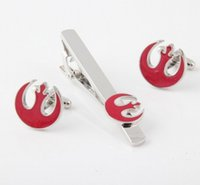 Wholesale New Fashion Metal Cuff Link and Tie Clip Sets Men s Jewelry Star Wars Cuff Link and Tie Clip Sets Movie Jewelry