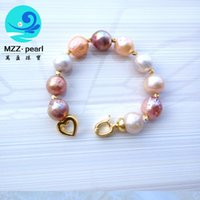 Wholesale 13 mm Large Baroque Pearl Bracelet Mixed Color Irregular Pearl Bracelet Large Edison Fireball Pearl Bracelet Nucleated pearl Braclet