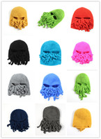 Wholesale Manual wool octopus squid adult women skiing wool beard made B cap quality express company exempt postage