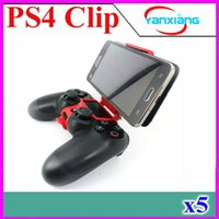 Wholesale 2016 New Mini Plastic Smart Phone holder Desktop Mobile Phone Clamp for ps4 Controller to PS4 Game Stretch Clip on Bracket PC YX JZ P4