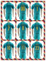 barcelona away uniform - Uniforms Kits soccer Jersey Barcelona Suarez Messi Neymar JR Haddadi Digne RD away Green Yellow Jerseys