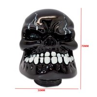Wholesale New Universal Manual Gear Stick Shift Shifter Lever Knob Wicked Carved Black Skull pomo marches fastshipping