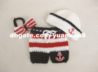 baby sailor costumes - Newborn Infant Striped Sailor Anchor Hat Tie Pants Cosplay Baby Photography Prop Handmade Crochet Knitted Costume Baby Gift animal backpack