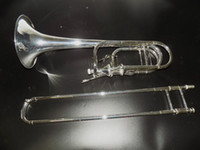 Wholesale Bb F Eb D Double Thayer Valves Trombone Gold brass Body Silver Plated with Case and mouthpiece EMS