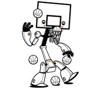 al por mayor 3d cartoon wall sticker large size-de gran tamaño 89 * 58cm de baloncesto robot de dibujos animados de juego increíble pared de vinilo calcomanía sala de niño lindo 3d engomadas de la pared Boys 'Room Decor