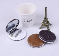 Wholesale Chocolate Cookie Shape Cosmetic Makeup Mirror Comb Lady Girl Lovely cookies design with comb