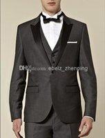 best natural charcoal - custom made Groom Tuxedos Side Slit Charcoal Grey Peak Black Lapel Best man Groomsman Men Wedding Prom Suits