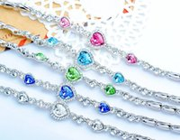 Wholesale Korean Hot Women s Classic Heart of Ocean crystal bracelet fashion accessories hand Zircon Peach Heart Jewelry