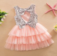 Wholesale Hot Sell Adorable Childrens Fashion Sequin Backless Bowknot Sleeveless Dress Girls Summer Round Neck Dress Kids Dress High Quality KB369