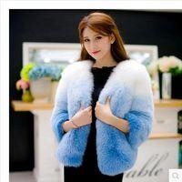 Wholesale Elegant faux fur coat women Fluffy warm long sleeve female outerwear chic autumn winter coat jacket hairy overcoat