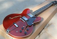 Wholesale ES double f Half hollow electric guitar Red brown light body jade button