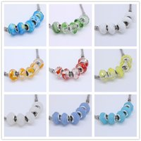 Wholesale Wholesales Clear Mix Colors Murano Glass Crystal Faceted Rondelle Spacer Big Hole Charms Beads For European Jewelry Bracelet