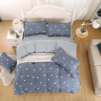 Wholesale Cheap Simple Bedding Sets Solid Pieces Home Textiles Comfortable Pure Color Light Blue High Quality Polyester Cotton