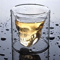 Wholesale 120pcs ml Doomed Crystal Skull Shot Glass Skull Head Vodka Whiskey Shot Glass Cup Cups Drinking Ware Wine Mug Beer Vodka Whiskey
