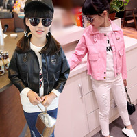 baby biker - 2016 Hot Selling Brand Design Girls Faux Leather Jacket Baby Cool Biker Blazer Motorcycle Jackets Coats Family Matching Clothes