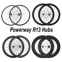 Wholesale mm mm mm mm mm Carbon Road Bicycle Wheelset Clincher with Powerway R13 Hub spokes alloy nipple Carbon Bike Wheels