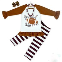 baby football outfits - 3PCS set girls football outfit clothing sets baby kids brown top black striped pant sets girls long sleeve boutique clothes matching bow