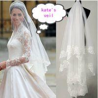 White accessories net - Gorgeous Kata s Veil one Layer Lace Appliques Fingertip Length Bridal Accessories Wedding Veils Lace Bridal Veils