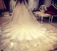 Wholesale Wedding Veil Meter Length M Width Crystals Rhinestones Lace BlingBling Cathedral Bridal Veils with Comb