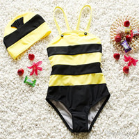 bees supply - New Arrivals Girl s Boy s Kids Swimwear One Piece Swimsuit Hat Beach Supplies Cute Bee Modeling Polyester KA433