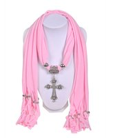 beautiful cross necklaces - Wishcart Beautiful Scarf hangers Necklace Jewelry Silver Pendants Scarves set with cross Soft Fabric Colors piece