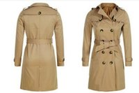 Wholesale Ms pure color long leisure trench coat