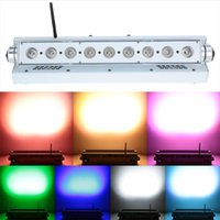 Wholesale Professional US plug Stage Lighting Effect W LED DMX512 RGBWY Color Changing Light Sound Control Auto Running for Disco KTV