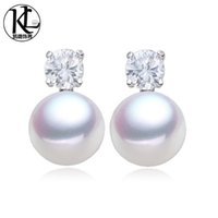 Wholesale Kpearl New Design White AAA mm bread shape freshwater pearl stud earrings