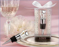 Wholesale Chrome Pourer Bottle Stopper - 50 PCS LOT Love Chrome Pourer Stopper Wine Bottle Bridal Shower Wedding Favors and gifts Free Shipping