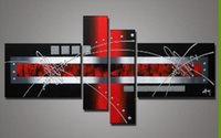 best passion - Hand painted Red Black Passion Color High Q Home Decoration Modern Abstract Best selling Oil Painting on Canvas set
