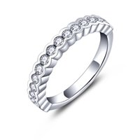 Wholesale Love Engagement Wedding Rings Chain Sterling Silver Fashion Finger Rings Jewelry With CZ Stone for Birthday Gift NR66020A