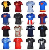 Wholesale 2016 Sports t shirt Batman Spiderman Ironman Superman Captain America Winter soldier Marvel T shirt Avengers Costume Comics Superhero mens