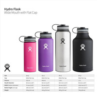 Wholesale 2016 New hot Hydro Flask oz Vacuum Insulated Stainless Steel Water Bottle Wide Mout w Flat Cap