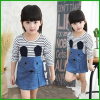 baby mini mouse - hot selling cute mouse striped jeans cotton baby girls dress children clothing vestido kids outfits costume free siipping
