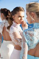 banquet service - High Neck Lace Backless Evening Dresses Long Sleeve PETAL POWER Two Pieces Dress Banquet Service